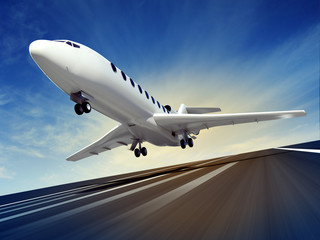passenger plane fly up over runway