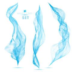 set blue blend abstract vertical waves background elements