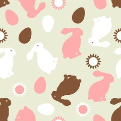 Easter bunnies eggs seamless pattern decorative flowers