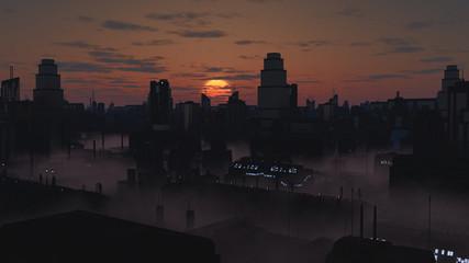 Future City in a Dark Misty Sunset