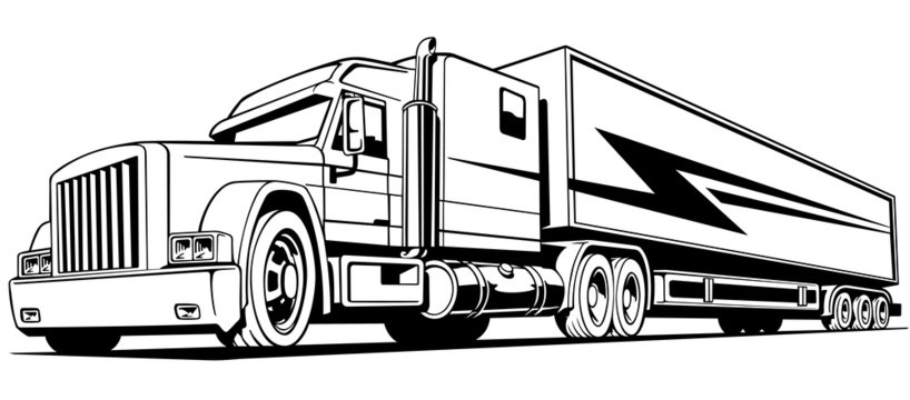 retro truck, big, on the road, symbol, transportation, isolated,