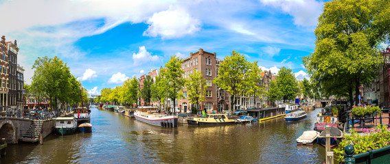 Canvas Prints Amsterdam Canal and bridge in Amsterdam