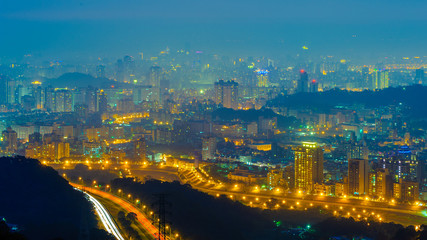 night scene of taipei city with fog and mist