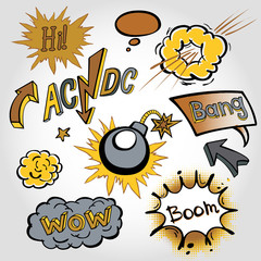 comic cloud, vector, wow, design, bang, boom, collection
