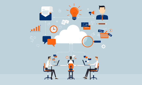 business connection online  on cloud technology