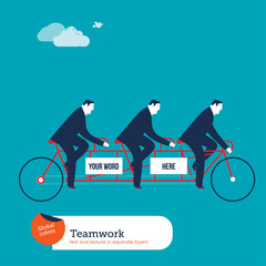 Businessmen on tandem bike with empty space to put words