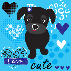 cute black dog with hearts vector illustration