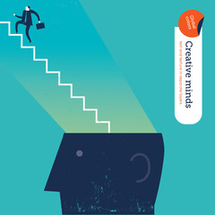Businessman with stairs from head