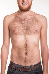 Torso of a man covered with hair