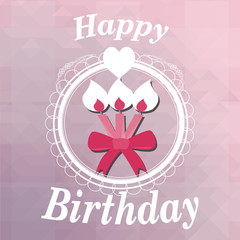 Happy birthday, candles  illustration over color background