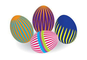 Four multi-colored Easter eggs