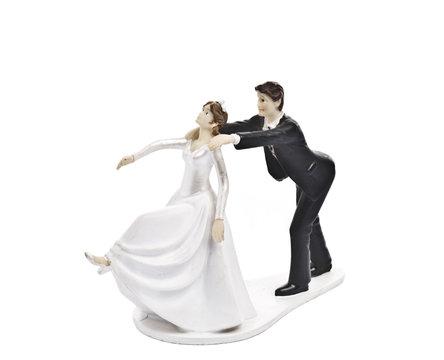 Couple wedding cake topper isolated on white