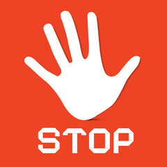 Stop Palm Hand Vector on Red Background