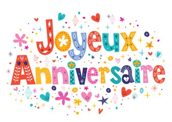 Joyeux Anniversaire Happy Birthday in French lettering