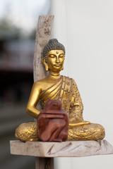 Buddha - Goldene Statue, Liebespaar aus Holz, Hausaltar