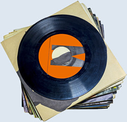 45 RPM vinyl records used and dirty even if in good condition