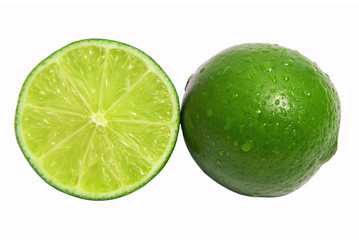 Healthy citrus fruity food. Whole and Slice of fresh lime