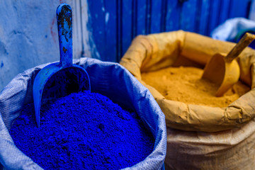 Blue color in powder, Chefchaouen, Morocco