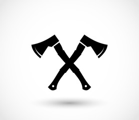 Lumberjack axes crossed icon vector
