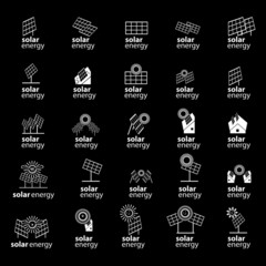 Solar Panel Icons Set - Isolated On Black Background - Vector Illustration, Graphic Design, Editable For Your Design