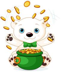 Polar Bear juggles gold coins