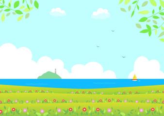 Fotobehang Pistache 花畑と海