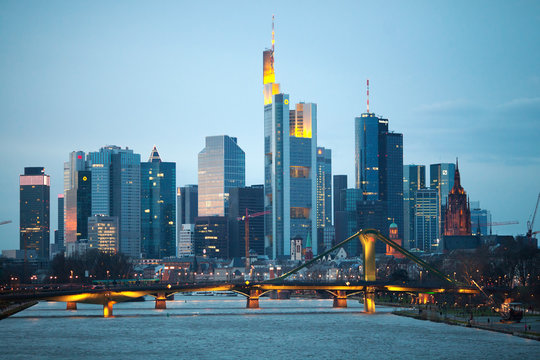 The evening view of Frankfurt am Mine skyscrapers, Germany