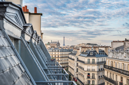 Roofs of Paris with Eiffel Tower in background