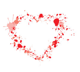 Background on Valentine's Day - the heart of the drops and blots