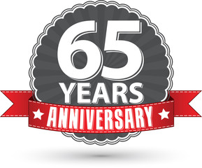 Celebrating 65 years anniversary retro label with red ribbon, ve