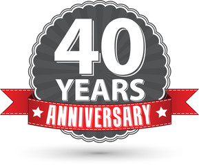 Celebrating 40 years anniversary retro label with red ribbon, ve