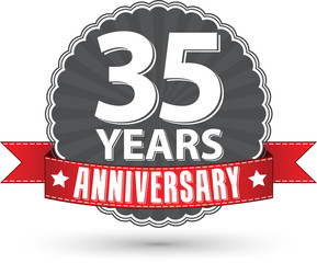 Celebrating 35 years anniversary retro label with red ribbon, ve