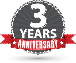 Celebrating 3 years anniversary retro label with red ribbon, vec