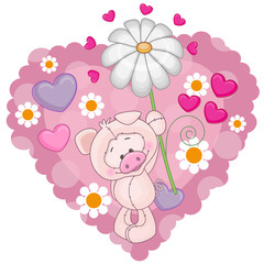 Pig with hearts and flower