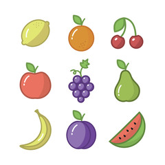 Fresh crispy fruit icons