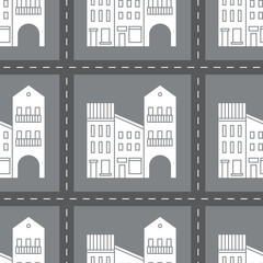 Seamless pattern with houses and streets.