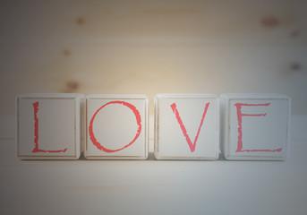 Love spelled in wooden blocks