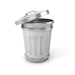 open trash can. 3d illustration