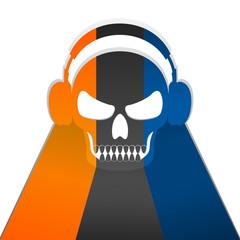 Human skull wearing headphone on white background.