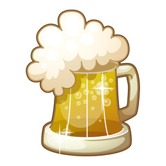 Detailed Icon. Mug of beer with foam isolated on white
