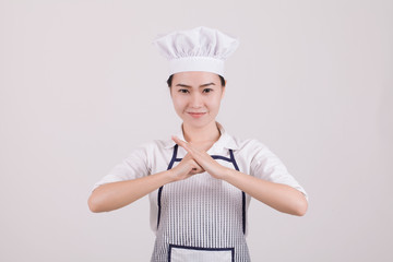 Happy smiling asian chinese woman chef