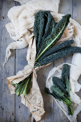 bunch of fresh lacinato kale on table with cloth