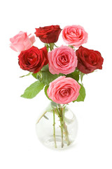 Bunch of red and pink roses in vase