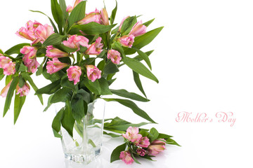Spring flowers as a holiday postcard design with copy space