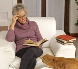 Donna gatto leggere