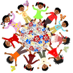 Happy African children around the world blossoms on a white back