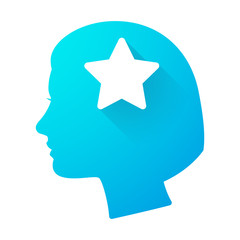 Woman head icon with a star