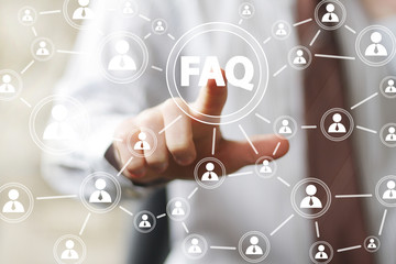 Wall Mural - Business button FAQ sign connection web communication