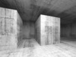 Abstract dark gray empty concrete room, 3d interior