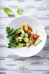Mediterranean-style salad with feta and dried tomatoes